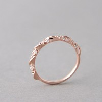 CZ ELEGANT SINGLE RIBBON RING ROSE GOLD STACKABLE RING by Kellinsilver.com - Fashion Jewelry Shop as ETSY