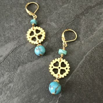 Genuine Turquoise Bicycle Gear Earrings, Bicycle Earrings / Bicycle Jewelry, Bike Jewelry, Bike Earrings, Steampunk Jewelry, Gold Bicycle