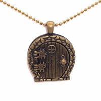 HOBBIT inspired Door, locket Necklace, ant. brasstone