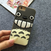 New Catoon Totoro Soft Silicon Phone Back Cover Phone Case For Iphone 5S / 6 / 6 Plus YC1017