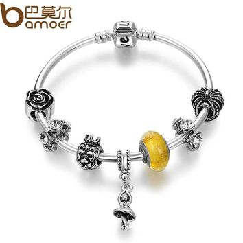 BAMOER Silver Color Dancer Pendant & High Quality Murano Beads Bracelets & Bangles for Women Beauty and the Beast Jewelry PA3819