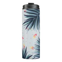 Unique Delicate Tropical Leaves Pattern Thermal Tumbler