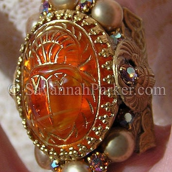 Antique Style Edwardian 1920s Art Deco Egyptian Scarab Ring by savannahparker