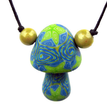 Glow in the dark mushroom pendant necklace, polymer clay, millefiori stars and spiral patterns, blue, green and yellow, handmade