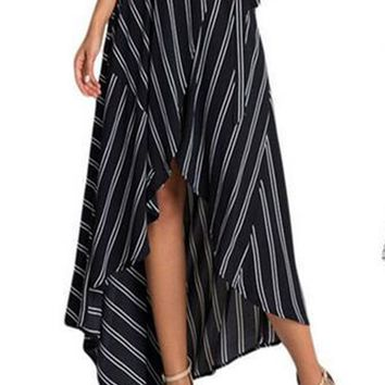 Bohemian Striped Tail Irregular Slim Long Skirt