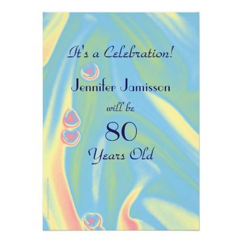80 Years Old Pastel Blue Birthday Party Invite