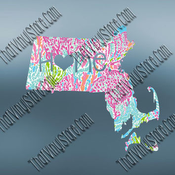 Massachusetts Heart Home Decal | I Love Massachusetts Decal | Homestate Decals | Love Sticker | Preppy State Sticker | Preppy State | 061