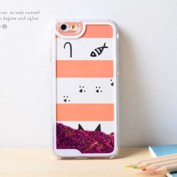 LMFEJ6 Cat Fish Dynamic Liquid Hot Pink Glitter Sand Quicksand Bling Clear iPhone 6 Plus case Retro flower Phone Case