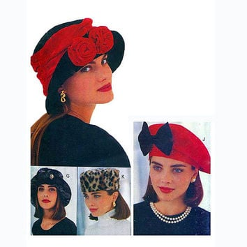 90s HAT PATTERN Millinary Hats Chapeaux Beret Newsboy Fez Baseball Cap Pillbox Patterns All Sizes Vintage Accessories Crafts Sewing Patterns