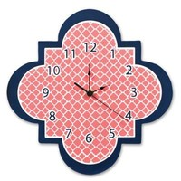 Coral and Navy Quatrefoil Wall Clock