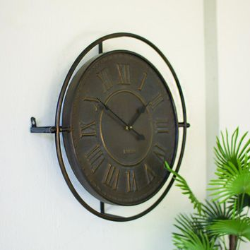 Embossed Metal Wall Clock Antique Rustic Finish