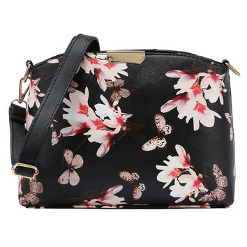Faux Leather Flower Print Shoulder Bag