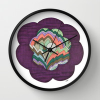 Deco Flower Wall Clock by Erin Brie Art