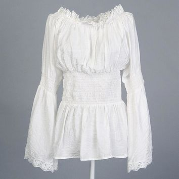 Womens Gothic Victorian Style Lace Peasant Blouse - Free Shipping