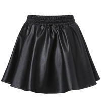 Black Elastic Waist Flared Faux Leather Mini Skirt