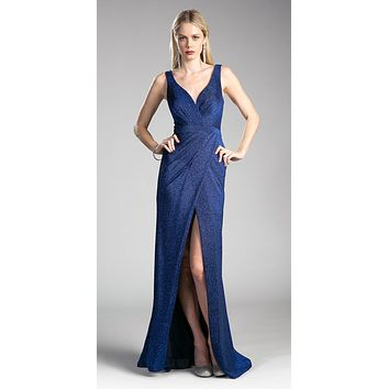 Ruched V-Neck Evening Gown with Front Slit Royal Blue