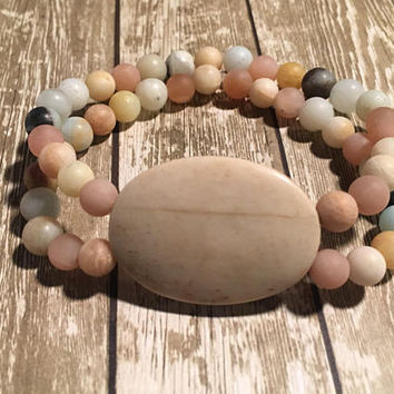 Beaded, Bracelet, Boho, Stretch, Double, Layered, Bone, Stone, Moonstone, Sunstone, Amazonite, Western, Native American, Spiritual, Healing