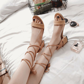 Fringe Women Sandals Plus Size 33-47 New Hot Fashion Summer Office Mid Heel Casual Lace-Up Women Shoes Woman Suede Leather Shoes