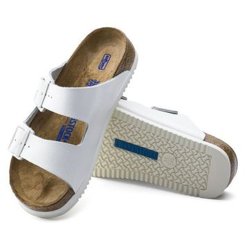 Sale Birkenstock Arizona Soft Footbed Leather White 0230164/0230166 Sandals