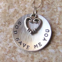 Hand Stamped Necklace God Gave Me You with Heart by StampedOutLove