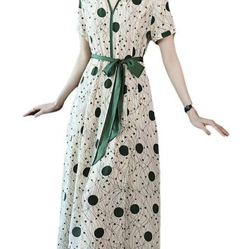 Elegant Print Polka Dot V-neck Silk Dresses