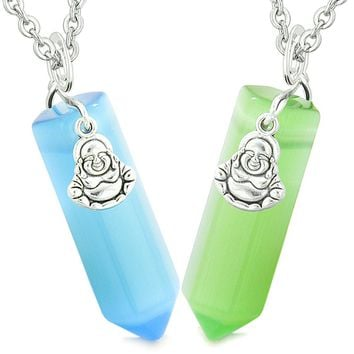 Happy Buddha Love Couples Best Friends Crystal Points Sky Blue Neon Green Simulated Cats Eye Necklaces