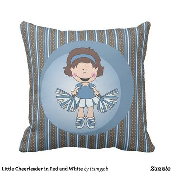 Little Cheerleader in Red and White Throw Pillow