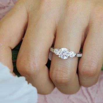 Size 5-9.5:  2 Carat Cathedral Filigree Style, 3 Stone Engagement Ring, Man Made Diamond, Wedding, Bridal, Sterling Silver, Promise Ring