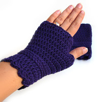 Purple crochet fingerless gloves, short gloves, warm wool mittens, wristwarmers, merino wool