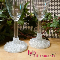 Wedding Champagne Flutes, Decorated Champagne Flutes, Beaded Glasses, Decorated Glasses, Wedding Glasses, Champagne Glasses, Custom Glasses