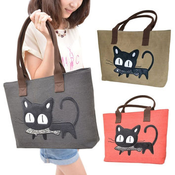 Canvas Shoulder Crossbody Shopping Bag Casual Cartoon Cat Women Handbag Women Messenger Lunch Bag Tote