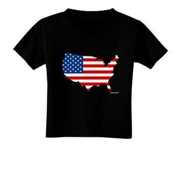 United States Cutout - American Flag Design Toddler T-Shirt Dark by TooLoud