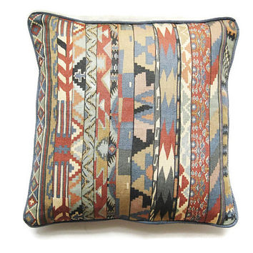Liberty's Collier Campbell Zebak mid 70s, ikat geometric rust red, blue, gray linen union cushon, throw pillow, homeware decor 18 x 18 ins.