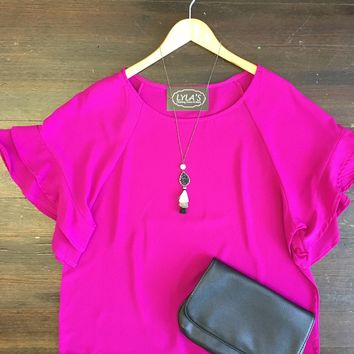 Ask Me Anything Ruffle Sleeve Top: Magenta