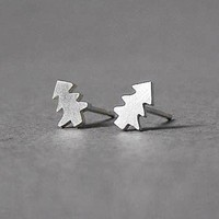 sterling silver Christmas tree ear studs, handmade in southwest England