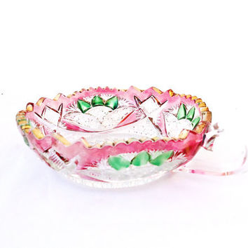 Vintage Vintage Clear Cut Glass Candy Dish with Handle, Gold Trim, Painted Glass Bowl, UK Seller