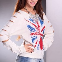 Cream Multi Razor Cut Sleeves Union Jack Sweater @ Amiclubwear Clothing,sexy club wear,women's party wear,sexy clothes,evening dress,v neck sweater dress,mini sweater dress,cashmere sweater set,women's turtleneck sweaters,short sleeve turtleneck sweaters,