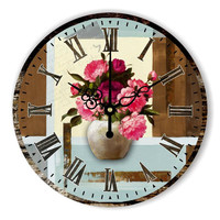 Beautiful flowers bedroom decor wall clock with absolutely silent 12888 clock movement fashion home decoration watch wall gift