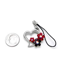 Cell Phone Charms ~ Heart with Flowers Cellphone Charm Accented with Red Crystals (Style Cellphone