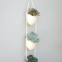 3 tier oval porcelain and cotton rope planter