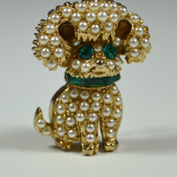 Vintage Dog Pin Faux Pearl Green Rhinestones Dog Brooch Figural Pin Figural Brooch Animal Pin Dog Jewelry For the Dog Lover
