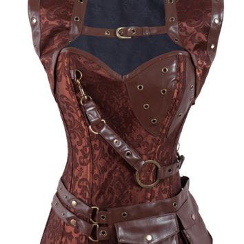 Atomic Brown Steampunk High Neck Overbust Corset and Shrug - Size 5XL Only