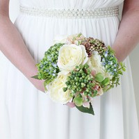 "Silk Rose, Hydrangea & Sedum Bouquet in White and Pink - 9.5"" Tall"
