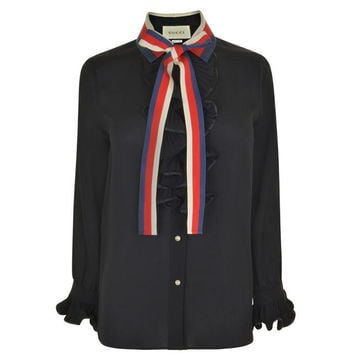 Contrast Collar Silk Shirt