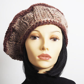 Woman knit hat - Slouchy beanie - Rasta tam - Dread beret - Ready to ship - Brown hat - Fashion knit hat - Chunky knit hat - Tan crochet hat
