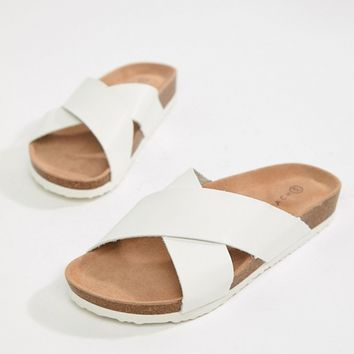 South Beach White Cross Front Slides at asos.com