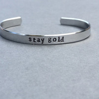 Stay Gold The Outsiders Ponyboy Bracelet Hand Stamped Aluminum Keychain