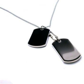 ONETOW Tactical Army Style Black 2 Dog Tags Chain Beauty Mens Pendant Necklace for Men Jewelry 9ANB