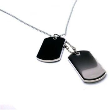 LMFCI7 Tactical Army Style Black 2 Dog Tags Chain Beauty Mens Pendant Necklace for Men Jewelry 9ANB