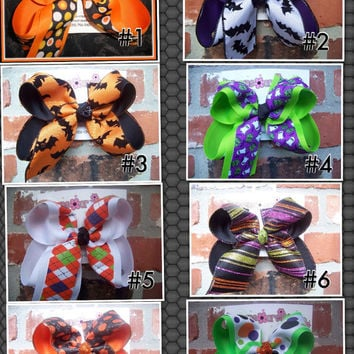LARGE 2 Layer Halloween Glitter Black Orange Argyle Bat Dot Print Ribbon Hair Bow Karens Creations
